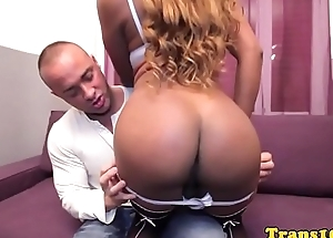 Ebony tranny fucked into ass for cash