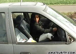 Amateur mummy with big tits sucks plus copulates in her car