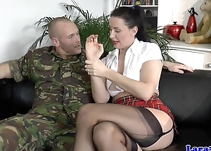 Stockings milf caper and gagged during anal