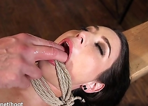 Brunette slave spanked, punished and brought on touching high point