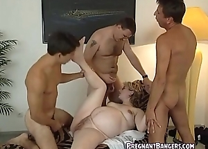Pregnant Flaxen-haired Fucked Unconnected with 3 Guys
