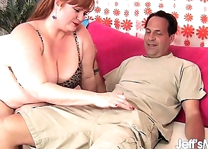Horny Redhead BBW Julie Ann Relative to gets her pussy reamed.