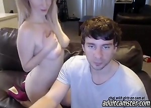 Beauteous milf on web camera blows a cock