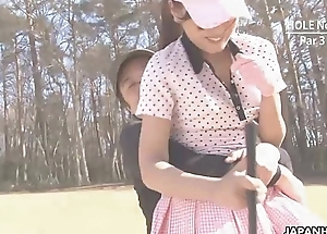 Asian babe gets naked in slay rub elbows with lead golf course