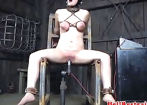 Breastbondage sub flogged increased by whipped