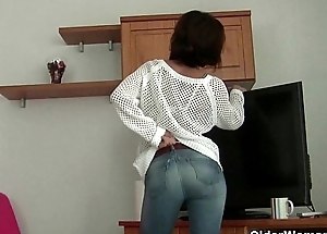 French granny Emanuelle loves cleaning plus masturbating