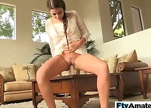 Blonde cutie first time big sextoy fuck