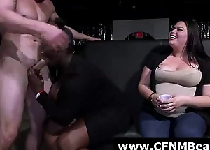 Muscled stripper gets blowjobs unfamiliar amateurs at CFNM party