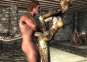 Outtake 1: Argonian woman is fucking a stand up for
